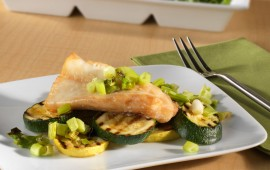 Steamed Orange Roughy with grilled vegetables