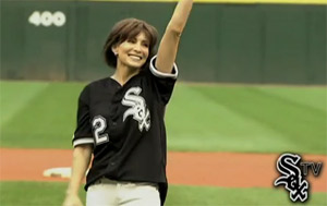 Shannon throws first pitch at Chicago White Sox ball game