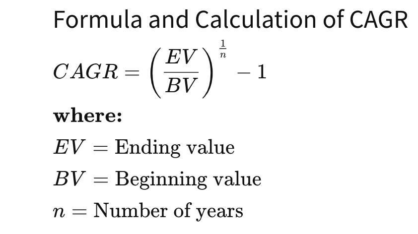 Formula and Calculation of CAGR  CAGR  where:  1  EV = Ending value  BV = Beginning value  n = Number of years
