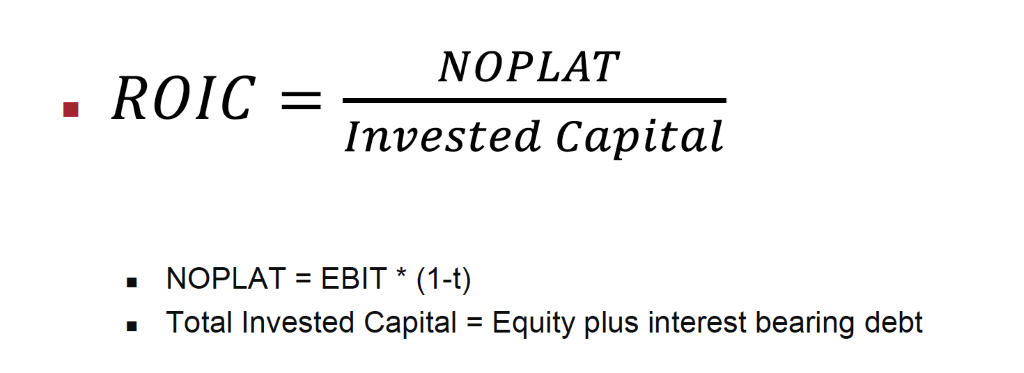 NOPLAT  • ROIC  Invested Capital  • NOPLAT= EBIT* (I-t)  • Total Invested Capital = Equity plus interest bearing debt