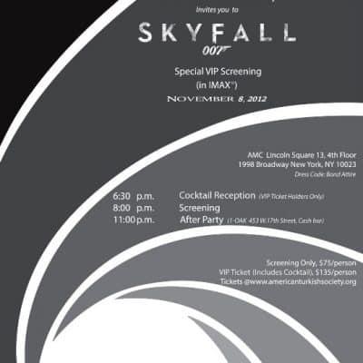 Skyfall 007 James Bond American Turkish Society Screening