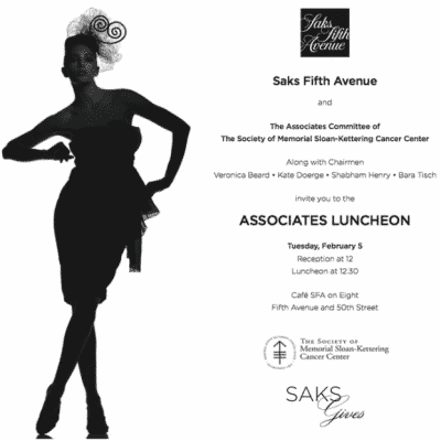 Society of Memorial Sloan-Kettering Cancer Center Associates Luncheon Saks Fifth Avenue