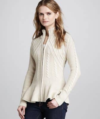 Autumn Cashmere Cable-Knit Peplum Cashmere Jacket