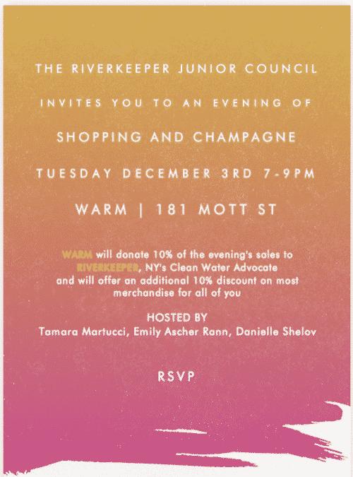 RIVERKEEPER Junior Council Shopping Event Benefit at WARM