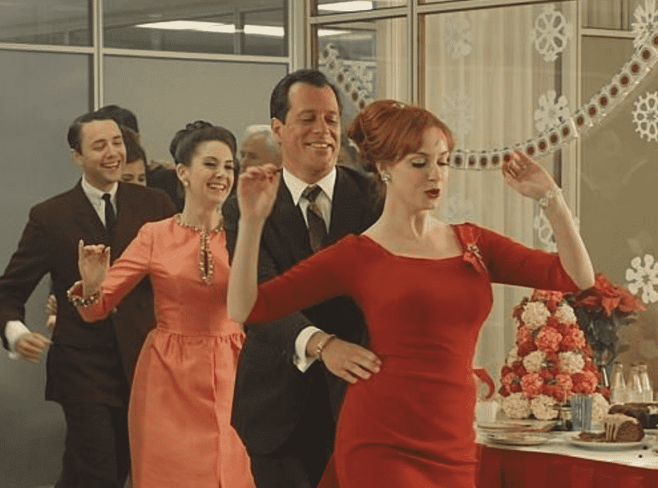 Scene from Mad Men Christmas Office Party.