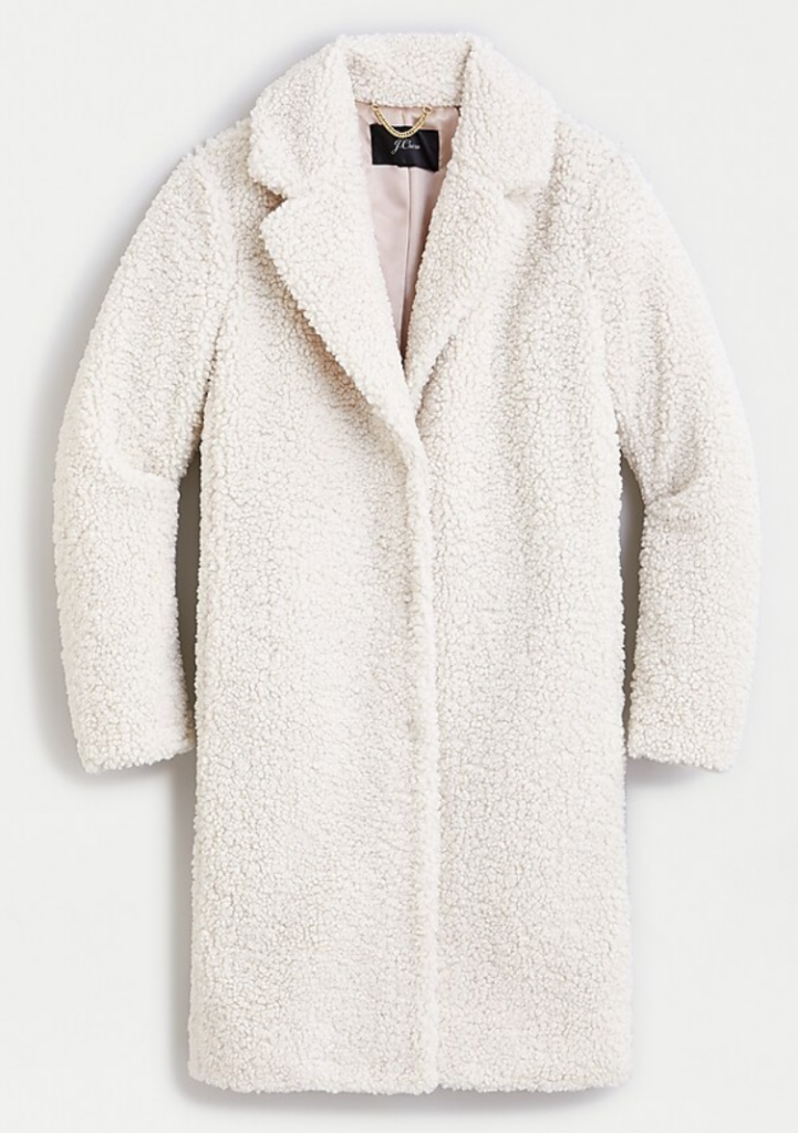White Sherpa Coat recommended by Karen Klopp Packing for Travel