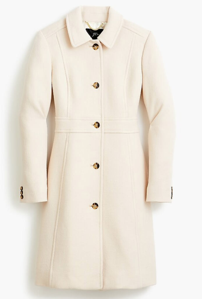 "White ""Lady Coat"" from J. Crew.  Karen Klopp recommendation for Packing for Travel."