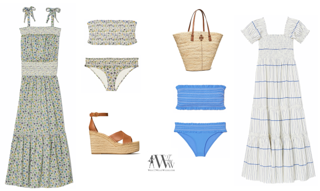Karen Klopp pick Tory Burch swimwear for spring break.