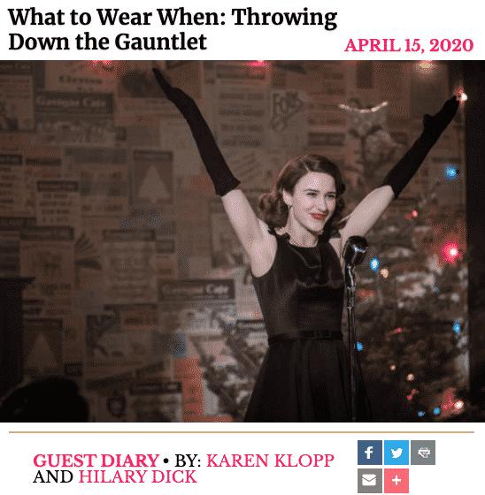 The History of Gloves, Karen Klopp and Hilary Dick article for New York Social Diary.