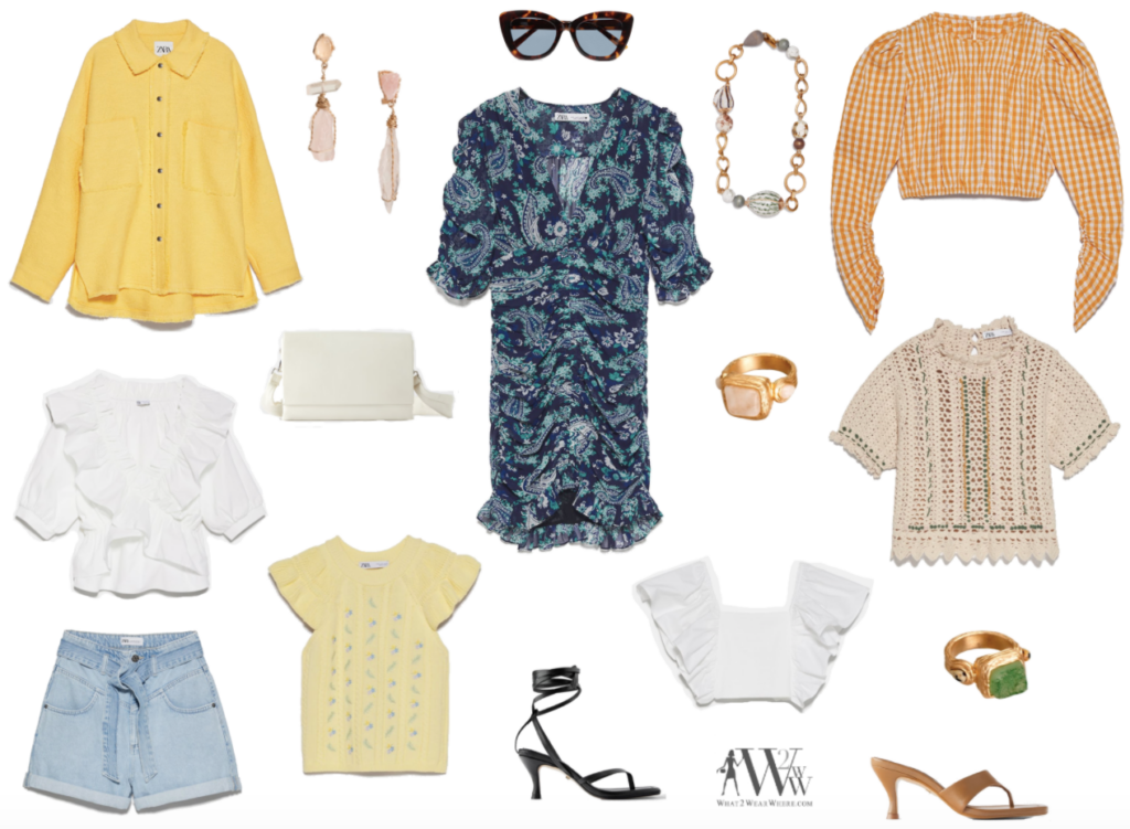 What to wear where, Hilary Dick top choices  for fun spring pieces and accessories from Zara.