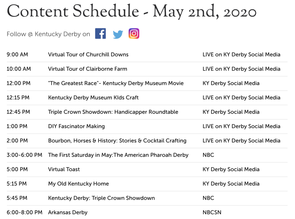 Schedule of event for Kentucky Derby #kentuckyderbyathome