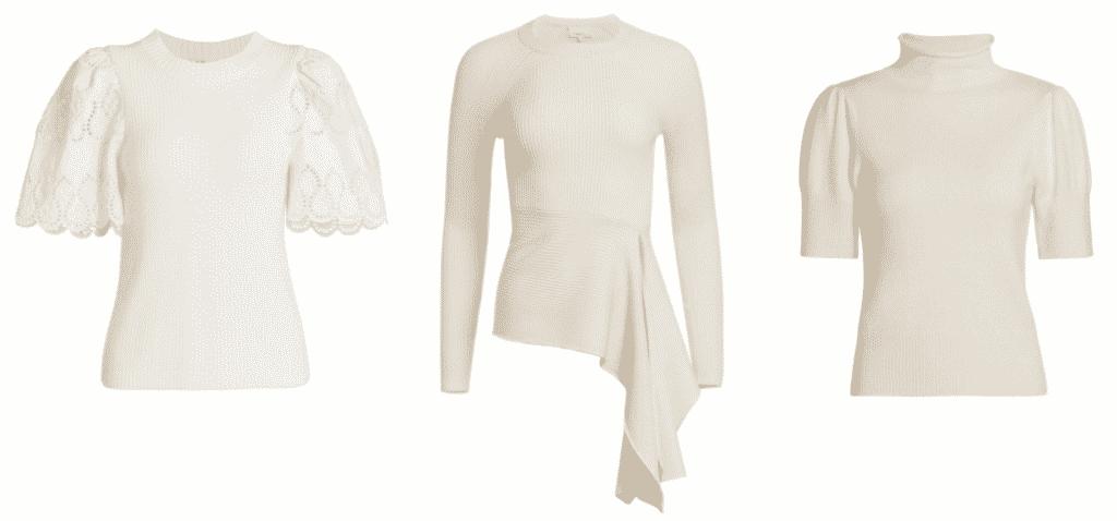 Karen Klopp pick the best winter white fashion for January 2021 at Saks.com.