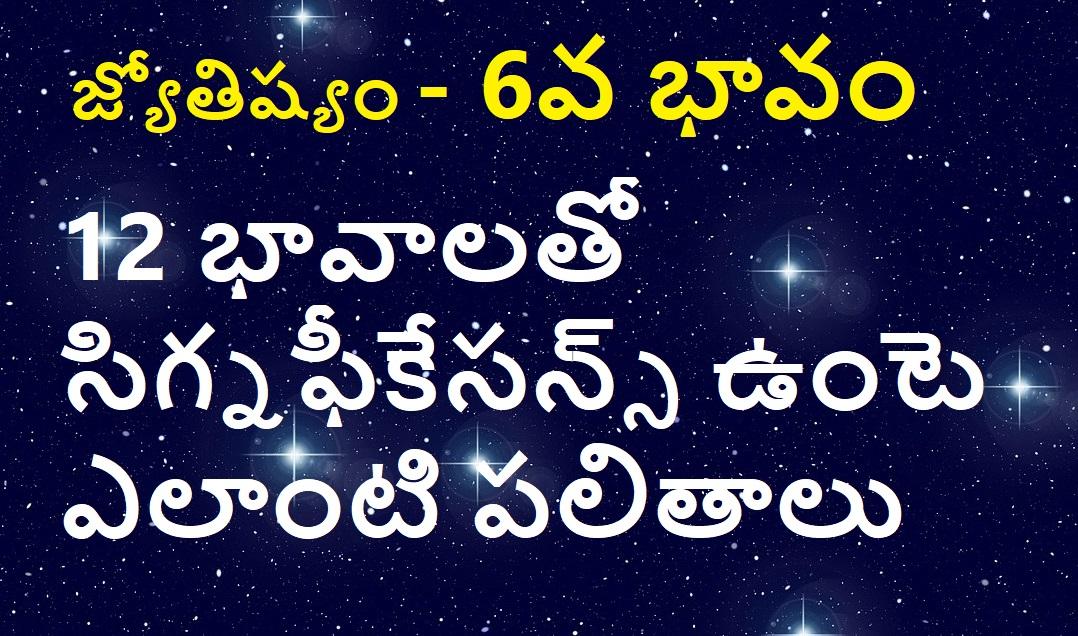 జ్యోతిష్యం – 6వ భావం – 12 భావాలతో సిగ్నఫీకేసన్స్ – పలితాలు