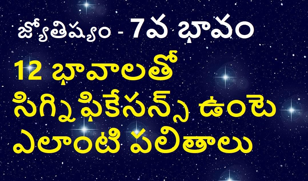 జ్యోతిష్యం – 7వ భావం – 12 భావాలతో సిగ్నఫీకేసన్స్ – పలితాలు