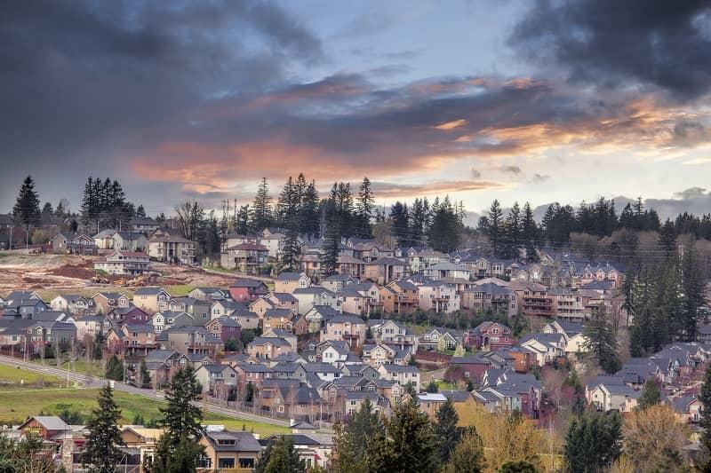 Cloudy Sunset Over North America Suburban Residential Subdivisio-cm