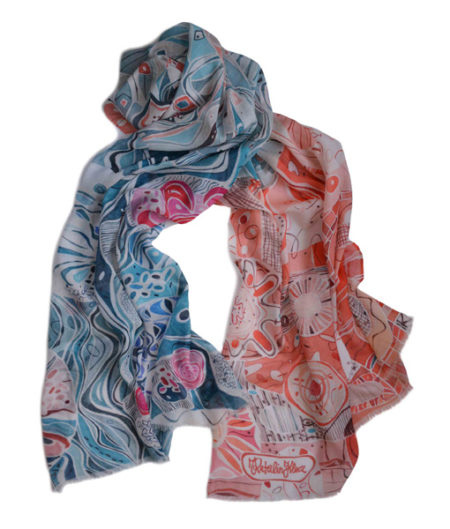 Colorful soft painterly scarf