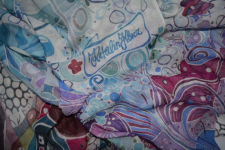 Colorful, turquoise, floral scarf