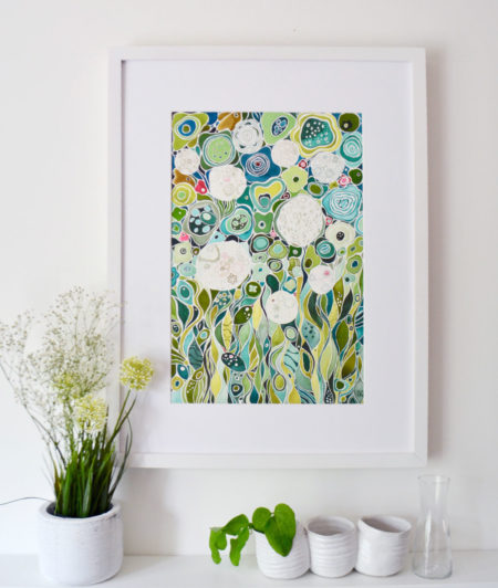 Limited edition of a watercolor painting of green flowers