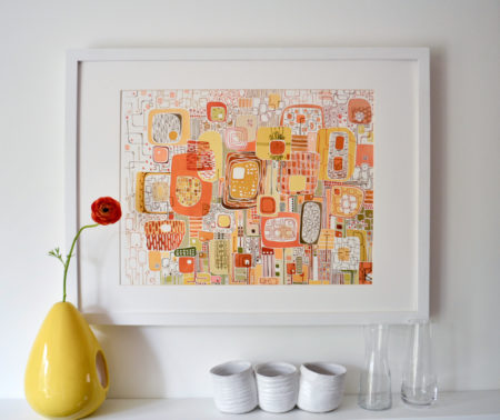 Limited edition of a Mid-century modern watercolor painting
