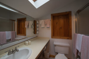 Bath with skylight off room over the kitchen