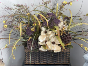 Fall Arrangement in Wicker Basket