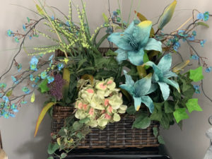 Spring Arrangement in Wicker Basket