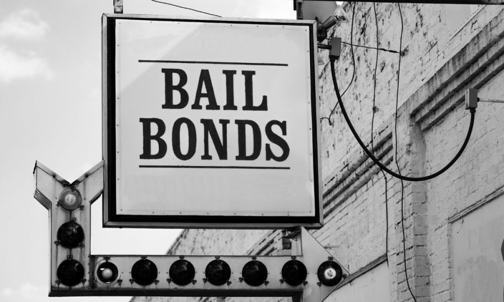 Written Bail Bonds inside the signboard