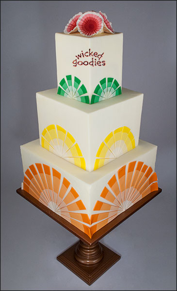 Citrus Sunburst Square Wedding Cake by Wicked Goodies