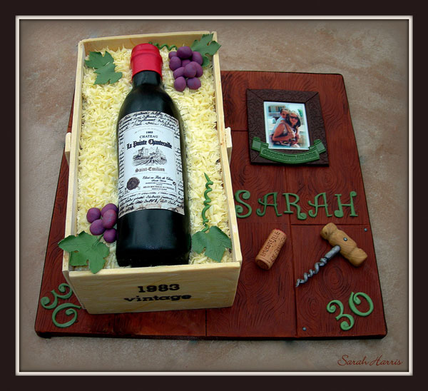 Wine Bottle Cake Decorated with Modeling Chocolate