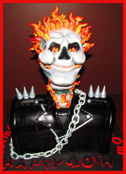 Ghost Rider cake decorated with modeling chocolate