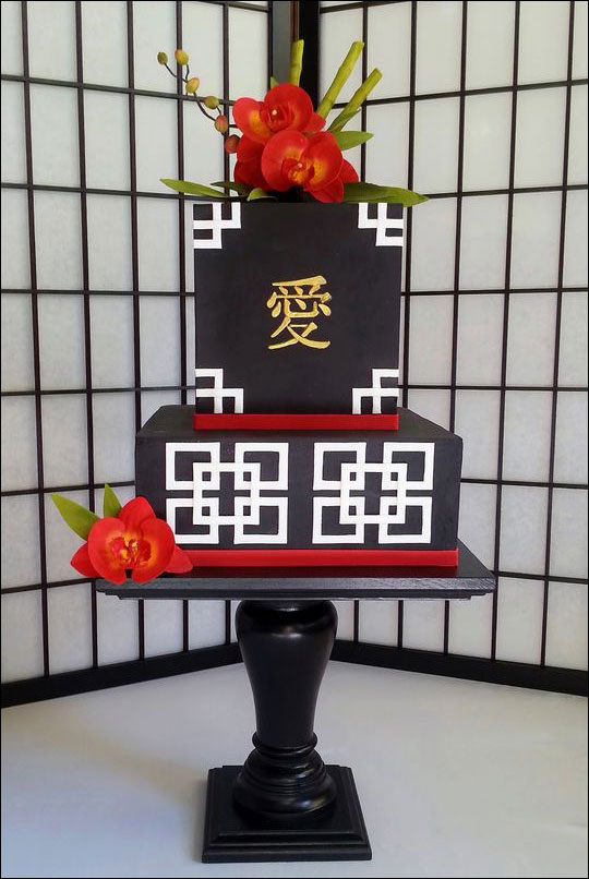Black, White, and Red Square Wedding Cake