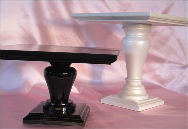 White and Black Square Cake Stands by Batter Up Cake