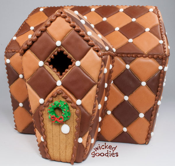 Chocolate Quilted Gingerbread Cookie House Design with Free Printable Template