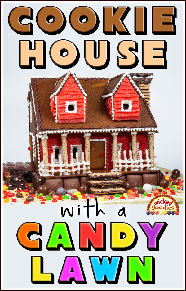 Gingerbread Cookie House with a Candy Lawn