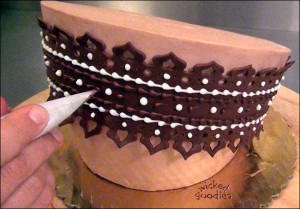 Modeling Chocolate Garter Belt Cake Decoration