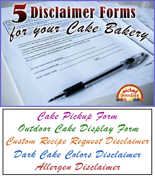 Disclaimer Forms for a Cake Bakery