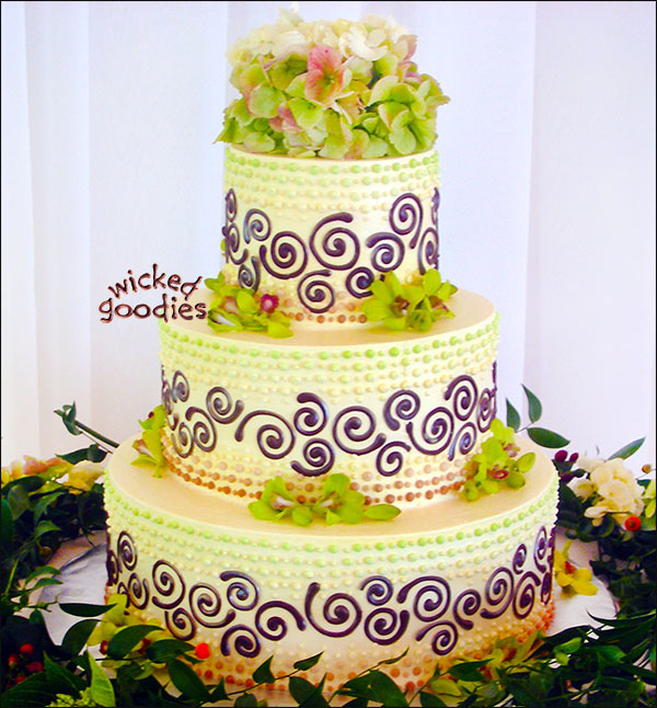 Chocolate Swirls Wedding Cake