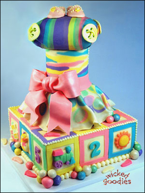 Baby Shower Tower Decorated with Modeling Chocolate