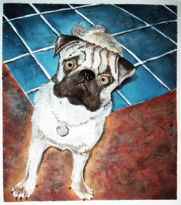 Pug portrait in monotype
