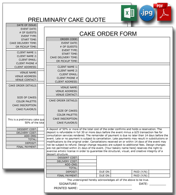 Cake Bakery Order and Quote Forms