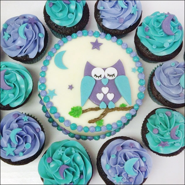 Owl Cake with Cupcakes made by Yariana Wortz of Curly Girl Bakes