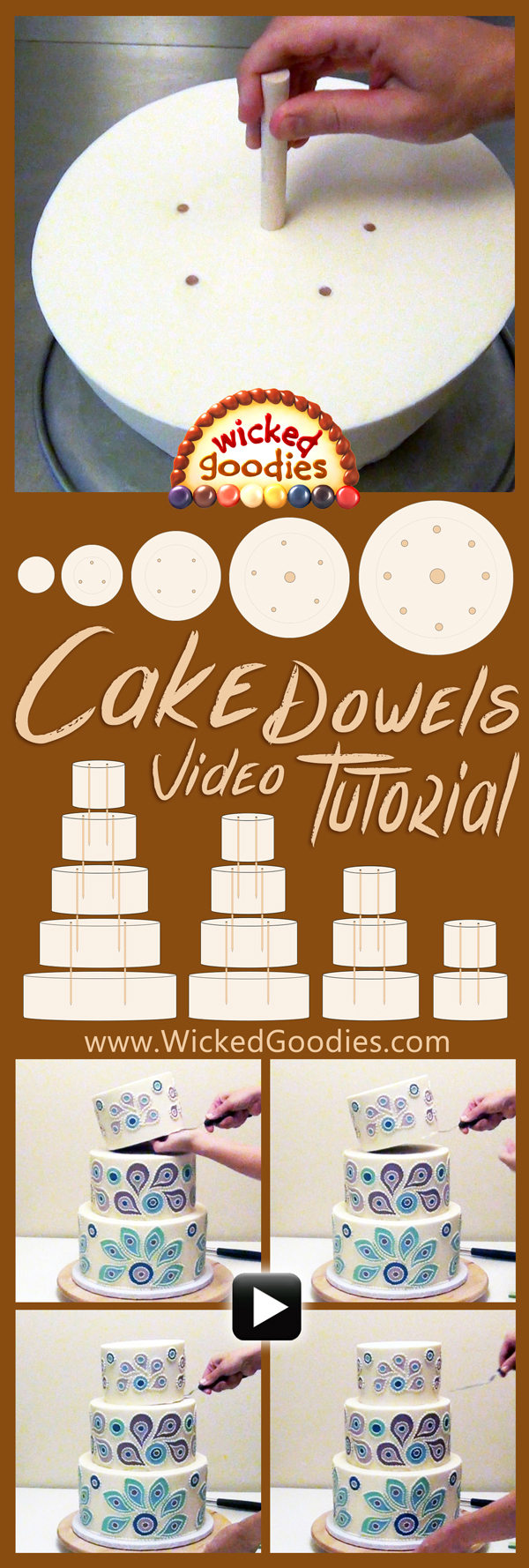 How to Use Wood Dowels in Stacked Cake Assembly