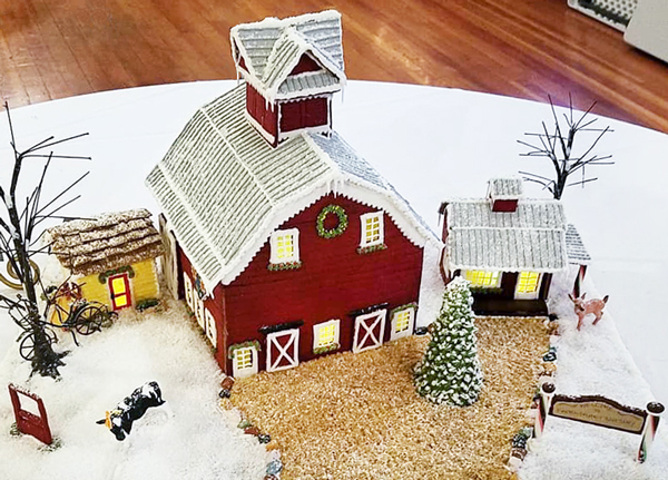 Red Gingerbread Cookie Barn by Kellie Nurray