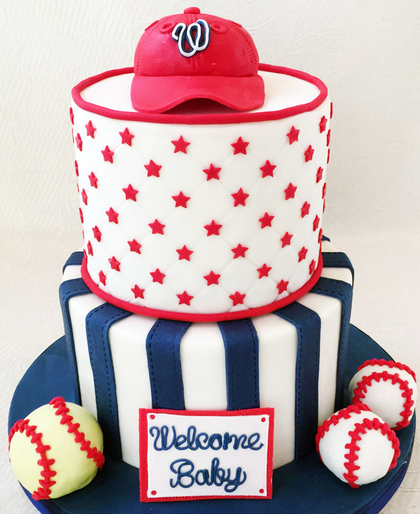 Baseball Themed Baby Shower Cake by Nancy Smith