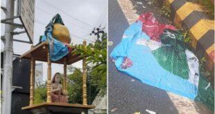 Adi Shankracharya Statue Wrapped with Islamic Flag