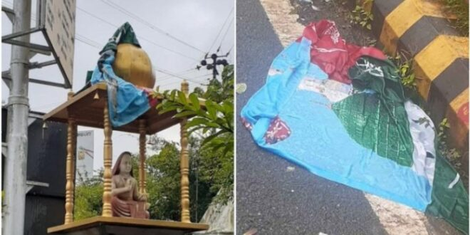 Adi Shankracharya Statue Wrapped with Islamic Flag