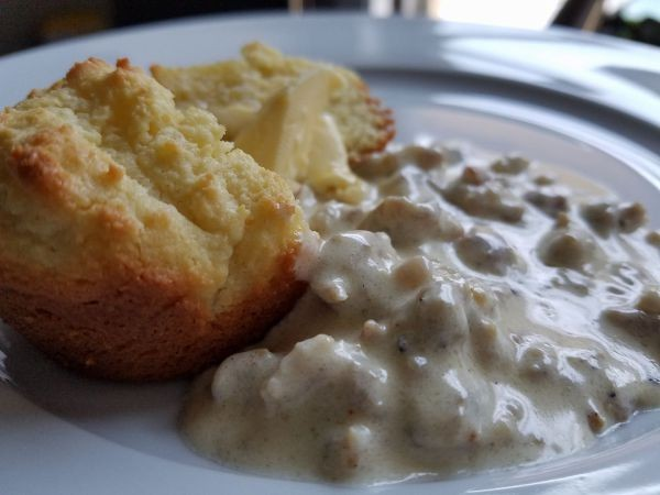 keto biscuit and sausage gravy