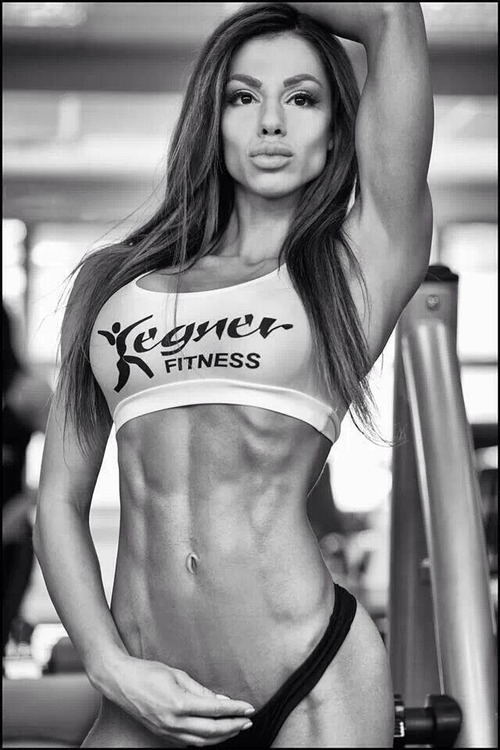 black and white of fitness girl posing
