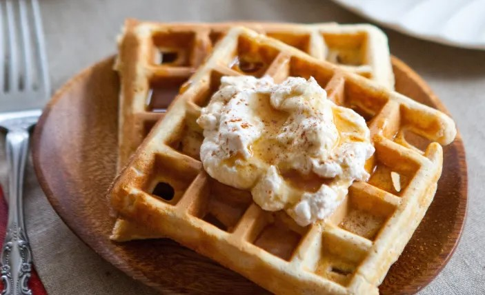 keto waffles with whipped cream