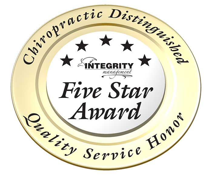 chiropractor integrity five star award